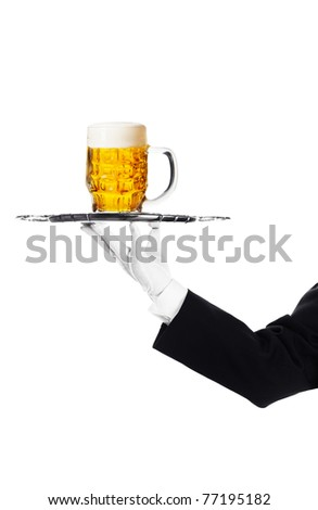 Waiter holding a tray with a beer glass