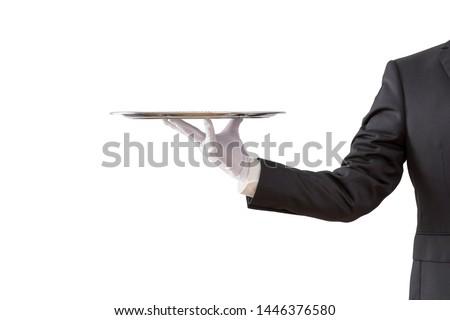 Waiter holding empty silver tray isolated on white background