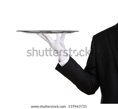 Waiter holding empty silver tray isolated on white background with copy space ストックフォト ©