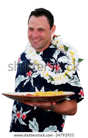 waiter holding food platter; clipping path