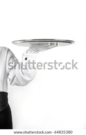 waiter holding silver tray
