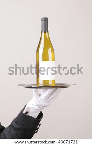 Waiter holding White Wine bottle on tray over gray background vertical format hand and arm only