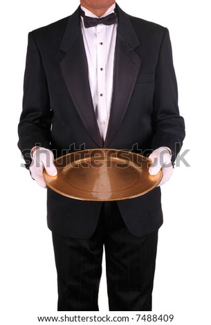 Waiter in Tuxedo with Gold Serving Tray isolated over white. Man is unrecognizable.