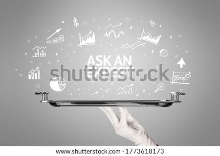 Waiter serving business idea concept with ASK AN EXPERT inscription
