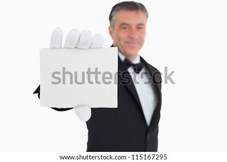 Waiter showing a card on white background