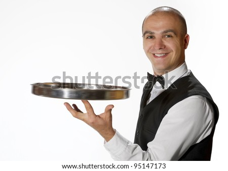 Waiter with empty tray