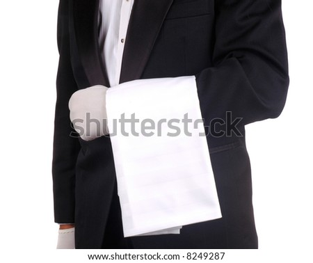 Waiter With Towel Draped Over Arm isolated over white. Person is unrecognizable.