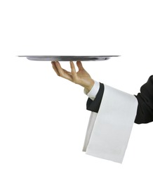 Waiter with tray with copy space and white background