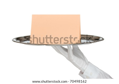 Waiter with white protective gloves holding silver tray with card - white background