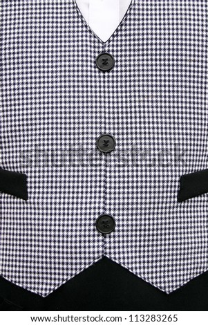 Waiters old fashioned black and white checkered vest. - stock photo