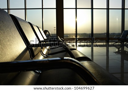 Waiting area at airport - stock photo