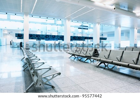 Waiting area in an empty airport terminal