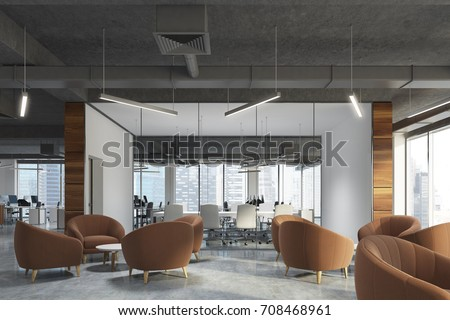 Waiting area of an office with beige armchairs standing around coffee tables in an office lobby with panoramic windows. A conference room background. 3d rendering