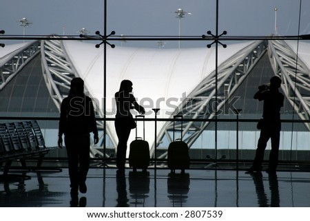 Waiting for the flight at the airport - stock photo