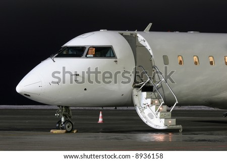 Waiting plane - stock photo