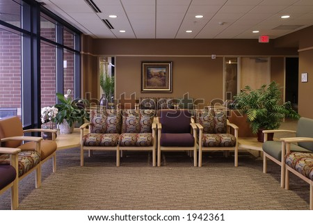Waiting room - medical clinic setting / hospital setting in one point perspective