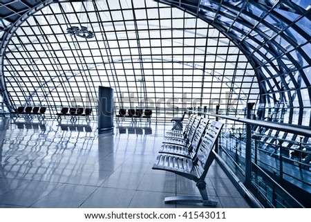 Waiting room with chairs, place in airport, perspective view