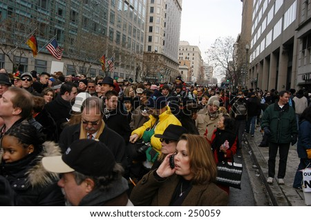 Waiting to get in to the parade at the inauguration of George W Bush...supporters and protesters. (Editorial use only)