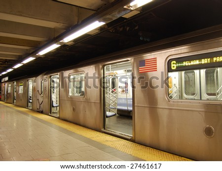 Waiting train with open doors in the New York subway - stock photo
