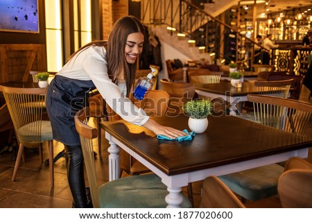 Waitress cleaning a table at a restaurant. Happy waitress cleaning a table while working at a restaurant. Waitress working at a restaurant cleaning the tables and looking happy