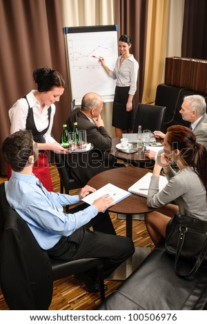 Waitress serving people at business meeting flip-chart presentation