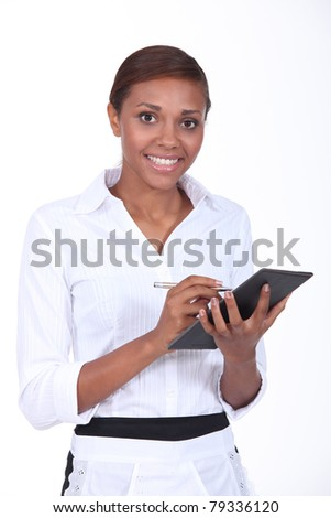 Waitress taking an order - stock photo