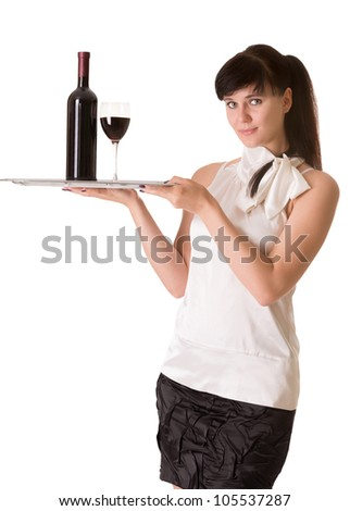 Waitress with bottle of wine and one glass on a tray, isolated on white background