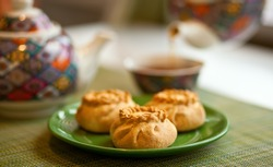 wak belyash food of Kazakh, Bashkir and Tatar cuisine. It is a product fried in oil from unleavened or yeast dough with minced meat or finely minced meat