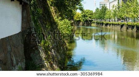 WAKAYAMA, JAPAN - JULY 20, 2015: Moat of Wakayama castle in Japan.