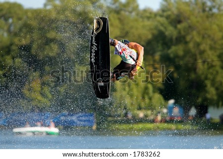 Wakeboarding on a lake.