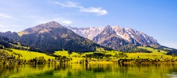 walchsee lake in austria at the wilder and zahmer kaiser