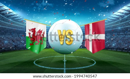 Wales vs Denmark. Soccer concept. White soccer ball with the flag in the stadium, 2021. 3d render Foto stock ©