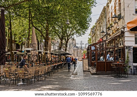 walk and restaurant terraces in the center of the city of breda in the background you can see the great church. Netherlands Netherlands