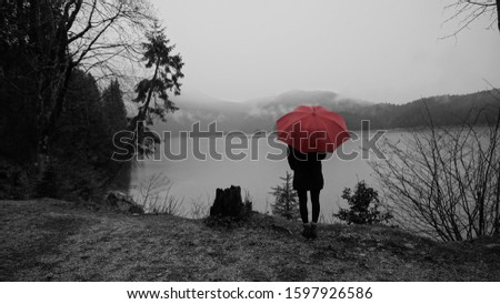 Photo of  Walk around the Eibsea (Eibsee) near Zugspitze (highest mountain in Germany). Rainy weather. Sea surrounded with fir trees, stones and rock fragments. Wanderer with red umbrella. Black and white.