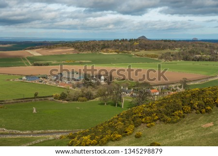 Walk around the Garleton Hills in East Lothian. The hills are largely formed from Carboniferous tuffs and trachytic lavas. View over East Garleton farm #1345298879