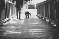Walk dad with his son in nature, autumn landscape. Black and white photos. Observing nature from the bridge