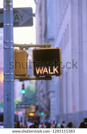 Walk/Don't Walk Sign, Manhattan, New York, USA. #1285115383