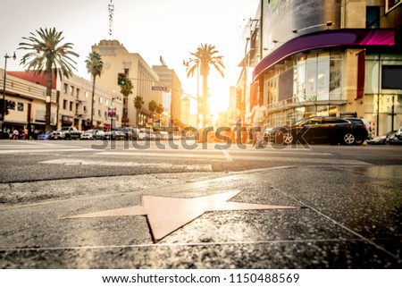 Walk of Fame at sunset on Hollywood Boulevard #1150488569