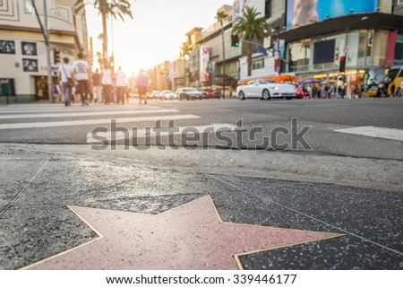 Walk of Fame at sunset on Hollywood Boulevard #339446177