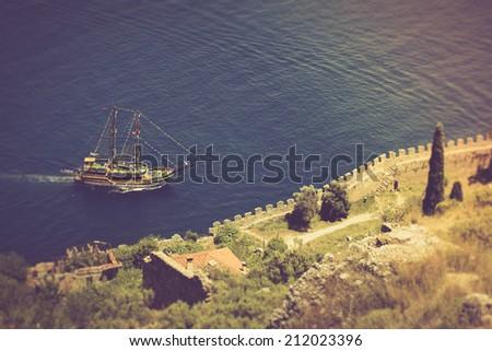 Walk on a beautiful yacht in Mediterranean sea, Alanya, Turkey. Filtered image:cross processed vintage effect.