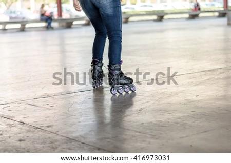 Walk on roller skates for skating #416973031