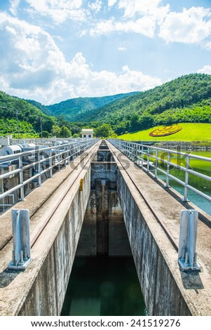 Walk Way on Water Gate at Mae Ping Ton Lang Dam, Thailand.