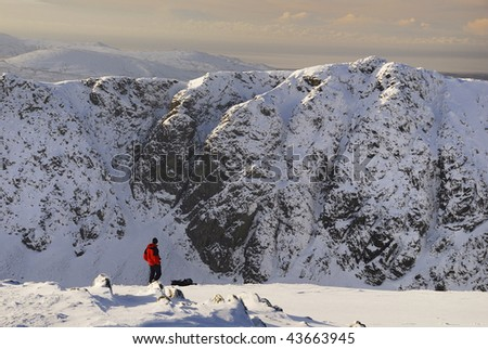 Walker admiring the view from the summit of The Old Man of Coniston in the English Lake District