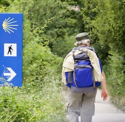 Walker doing the way of Saint James (Camino de Santiago) in Spain.