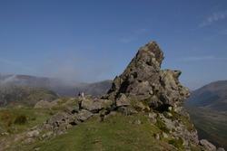 Walkers along side Helm Crag