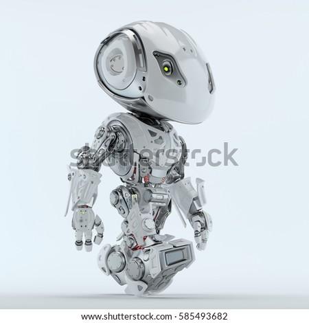 Walking bbot cute robot 3d rendering  #585493682