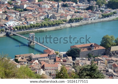 Walking bridge over the river Rhone at Tournon-sur-Rhone in France