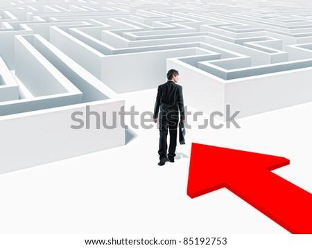 walking businessman and 3d maze