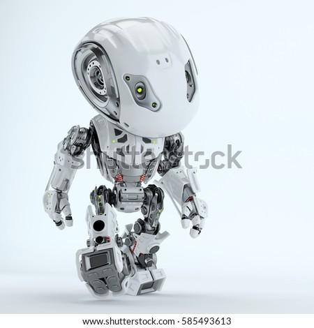 Walking cute robot in front 3d rendering - Shutterstock ID 585493613