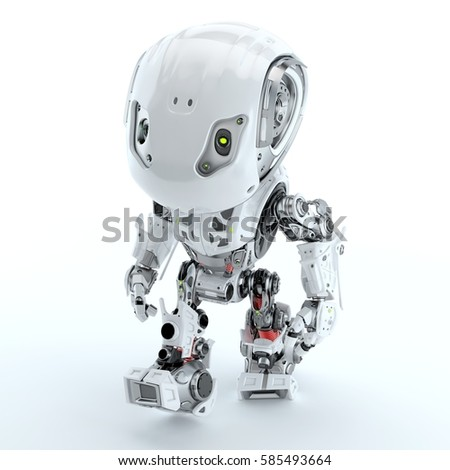 Walking cute robot in top view 3d rendering - Shutterstock ID 585493664